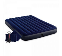 64765, Intex, Надувной матрас Classic Downy, 152х203х25см с подушками и насосом