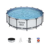 56438 BW, BestWay, Каркасный бассейн, 457х122 см, 16015 л.,фильтр-насос 3028л/ч, тент, лестница
