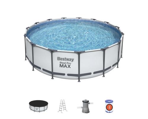 56438 BW, BestWay, Каркасный бассейн, 457х122 см, 16015 л.,фильтр-насос 3028л/ч, тент, лестница , уп