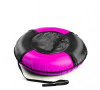 РТ09002 Надувная ватрушка PolyTube Эконом 90 см черно-розовая