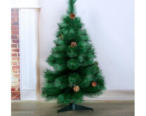 701405 Кедр зеленый шишки 90 см, d нижнего яруса 60 см, d игл 10 см, 57 веток, пласт подставка