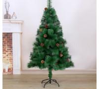 701407 Кедр зеленый шишки 150 см, d игл 10 см, d нижнего яруса 88 см, 152 ветки, металл подставка