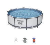 56418 BW Bestway Каркасный бассейн 366х100 см, 9150л, фильтр-насос 2006л/ч, лестница