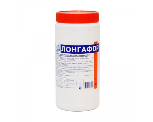 М16 ЛОНГАФОР, 1кг банка, табл.200гр, медленнорастворимый хлор для непрерывной дезинфекции воды