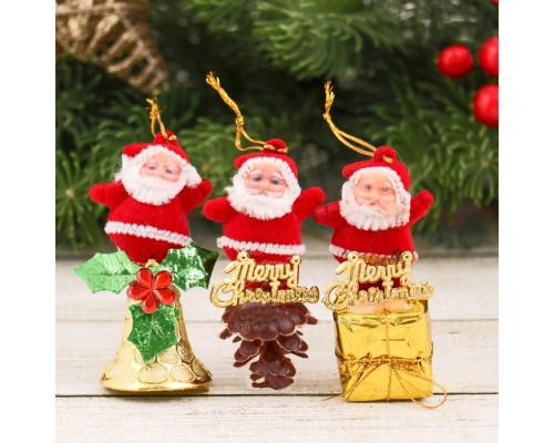 """2372120 Украшение ёлочное """"Дедушка Мороз"""" колокольчик, шишка, подарок (набор 3 шт) 2,5х6 см"""
