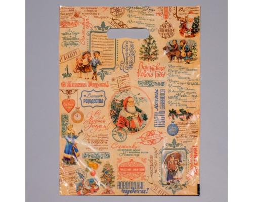 """2737881 Пакет """"Новогодняя газета """", полиэтиленовый с вырубной ручкой, 30 х 40 см, 30 мкм"""