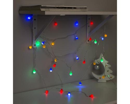 """3590698 Гирлянда """"Нить"""" 5 м с насадками """"Шарики цветные"""", IP20, прозрачная нить, 30 LED"""
