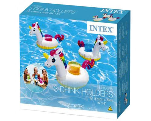 """57506, Intex, Надувной плавающий держатель для напитков 38х17х20см """"Единорог"""" комплект из 3 шт"""