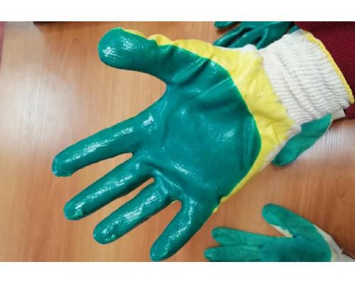 38556 Перчатки с двойным латексным покрытием ЛЮКС (желт.-зел.)