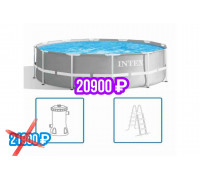 26716, Intex, Каркасный бассейн Prism Frame 366х99см, 8592л, фил.-насос 2006л/ч, лестница