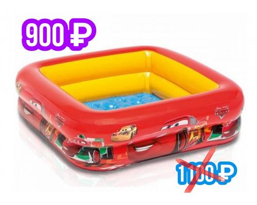 """57101 Детский надувной бассейн 85х85х23см """"Тачки"""" Disney-Pixar 57л, от 1 до 3 лет, надувное дно"""
