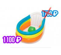 51134 Надувная ванночка для купания 76х48х33см с надувным дном и градусником, до 2 лет
