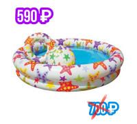 """59460, Intex, Детский надувной бассейн 122х25см """"Звездный"""" с мячом и кругом, 114л, от 2 лет"""
